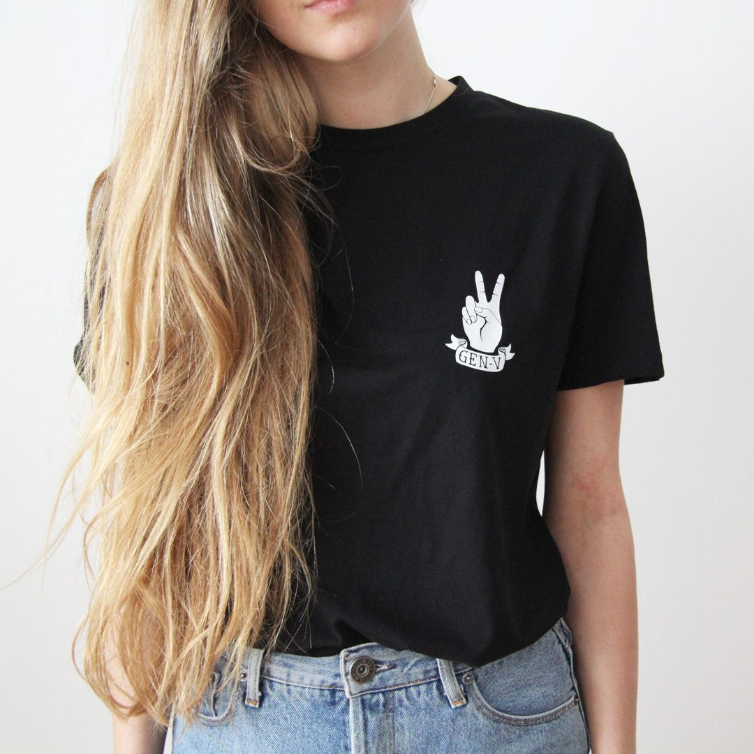 Generation-V Peace Black Tee Front Female