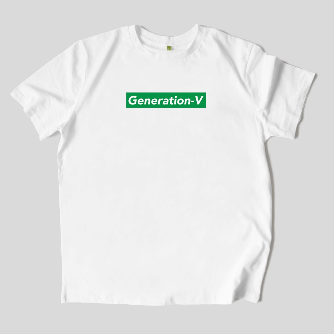 Generation-V Green Box Logo White Tee Front