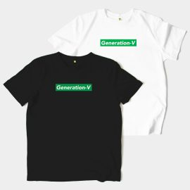 Generation-V Green Box Logo White or Black Tee Front