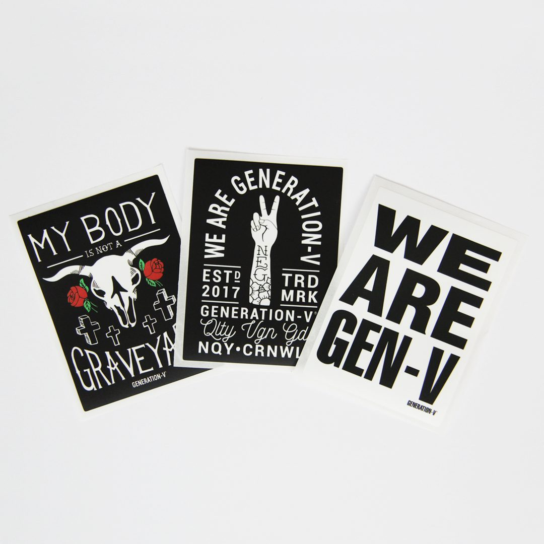 Generation-V Vegan Sticker Set Fan No Packaging