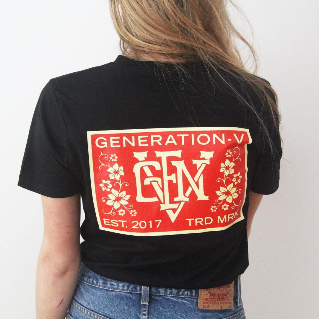 Generation-V Monogram Black Tee Back Female