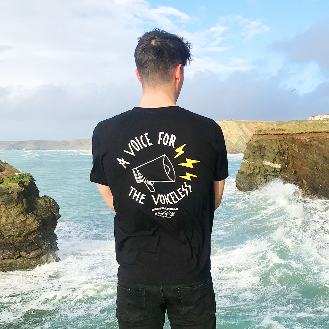 Generation-V Ethical Organic Sustainable vegan t-shirt Unisex Black tee 1080 Porth Island Newquay Cornwall
